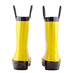 Lone Cone Children's Waterproof Rubber Rain Boots in Solid Colors with Easy-On Handles Simple For Kids, Yellow with Blue Trim, 8 M US Toddler