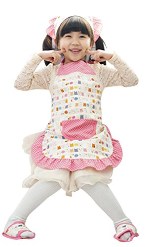 CRB Fashion Toddler Girls Chef Baking Kitty Cats Headscarf Apron with Pockets (8T to (Toddler And Girls Pretty Kitty Costumes)