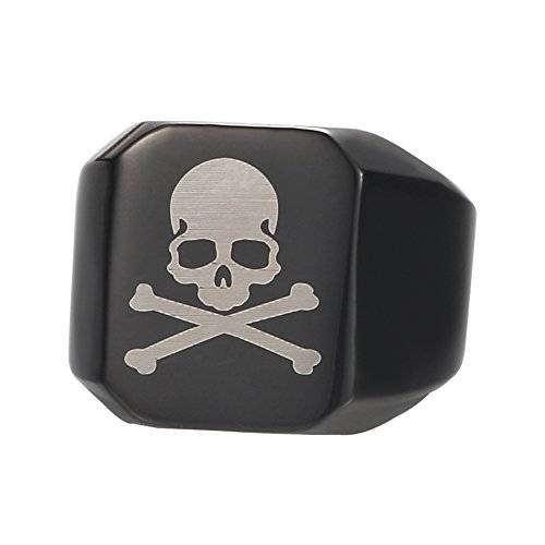 Black Bone Cross (Men's Jet Black Brushed Octagon Signet Ring skull and cross-bones Flag Motifs Carved Pirate Band (8))