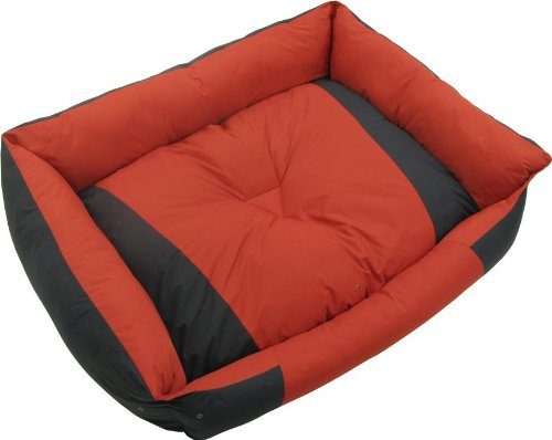 Kakadu Pet Island Bolster Dog Bed, Medium, 28 1/2″ x 23″ x 6 1/2″, Lagoon and Hibiscus (Blue and Red), My Pet Supplies