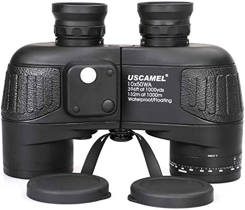 USCAMEL 10x50 Marine Binoculars for Adults, Military Binoculars Waterproof with Rangefinder Compass BAK4 Prism FMC Lens Fogproof for Navigation Birdwatching Hunting ... (10x50)