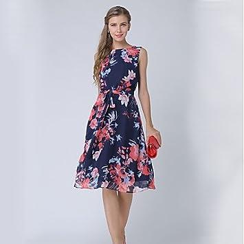JIALELE Vestido Fiesta Mujer,De Fiesta Una Línea Vestidos Estampados Florales,Cuello Redondo Sin