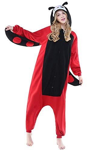 Women's Sleepwear Unisex Adult Onesie Polar Fleece Sleepsuit Party Dress Christmas Costume (X-Large,Ladybug)