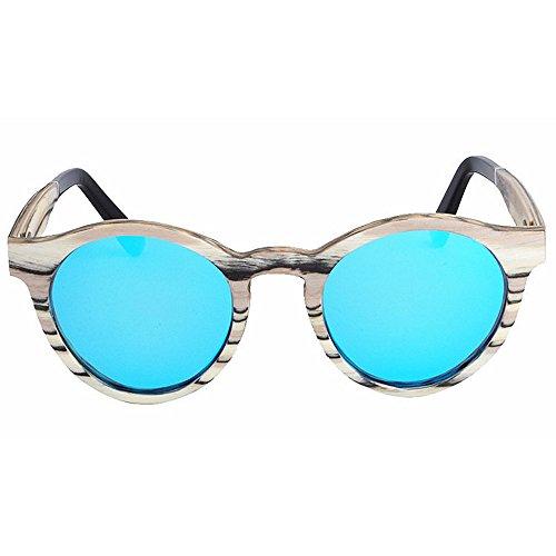 sol a mujeres de de Gafas que la forma de Tonos de de Gafas moda madera de del hechas polarizadas mano redonda Protección cebra conduce l aire TAC de sol al las de Gafas marco la la pesca ULTRAVIOLETA ItwTqYx