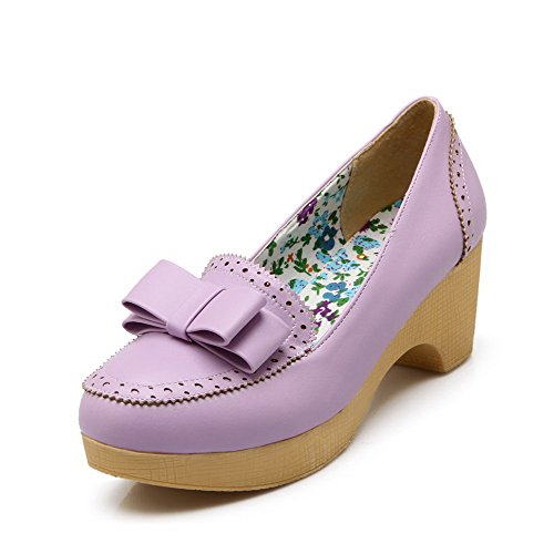 AmoonyFashion Womens Soft Material Round Closed Toe Kitten-Heels Pull-on Solid Pumps-Shoes Purple ap2G6TS