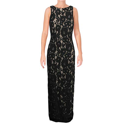Lauren Ralph Lauren Womens Lace Full-Length Evening Dress Black 10