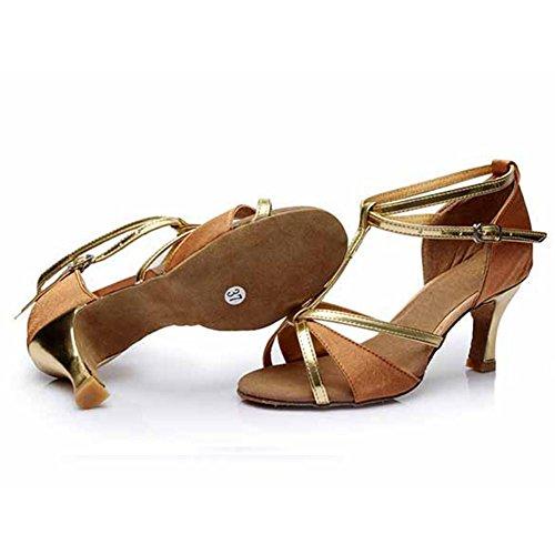 stil Latein Standard Ballsaal Tanz Brown Heel2 amp; 255 Latein Salsa Schuhe 76¡± Damen 5Xwqf8X