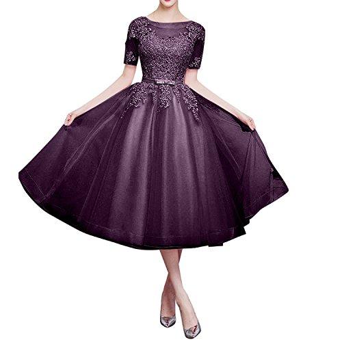 Traube Lang Dunkel Partykleider Charmant Rosa Abendkleider Damen Brautjungfernkleider Romantisch Organza A Linie Langarm Rock 7wwxqO46g8