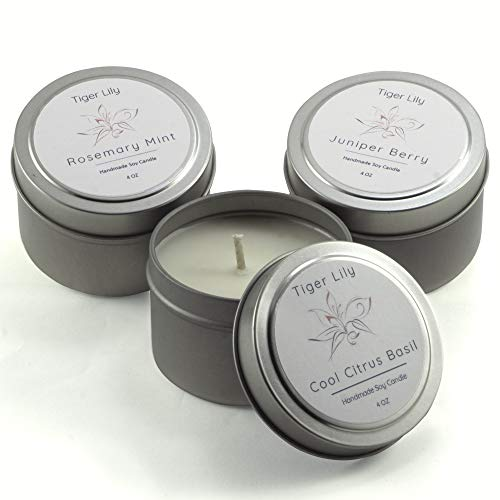 Tiger Lily 4 oz Scented Travel Candles in Tins Set of 3 - 100% Soy Wax (Cool Citrus Basil, Juniper Berry, Rosemary Mint)