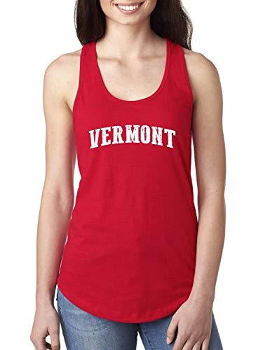 Vermont State Flag Burlington City Traveler`s Gift Women's Racerback Tank Top (2XLR) Red