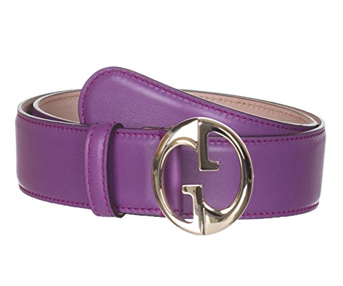 Gucci Women's Purple Leather Interlocking GG Buckle Belt, 32, Purple by Gucci