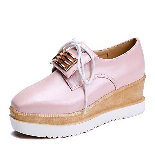 Balamasa Dames Lace-up Metalornament Nagebootst Lederen Pumps-schoenen Roze