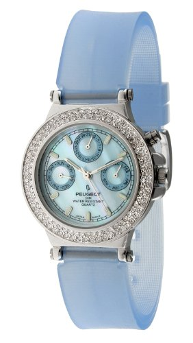Peugeot Women's 328BL Silver-Tone Swarovski Crystal Accented Multi-Function Blue Rubber Strap - Watch Chronograph Crystal Bezel
