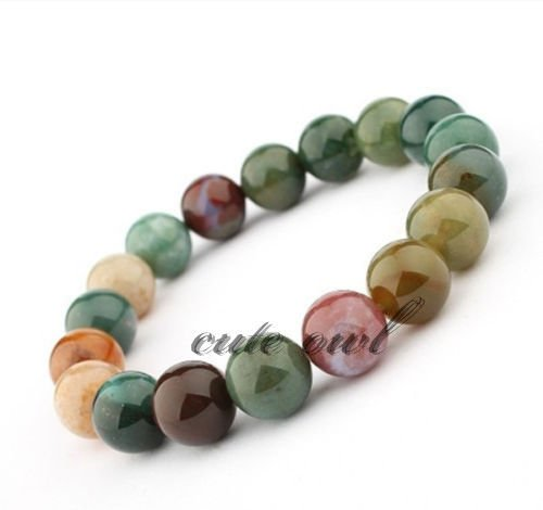 FidgetGear AAA+ 12mm Multi Color Chinese Natural Jade Jadeite Elastic Bead Bangle Bracelet Chinese Jade Beads Bangle