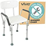 Vive Shower Chair with Back - Handicap Bathtub Bench with Padded Armrest for Disabled, Seniors & Elderly - Adjustable Medical Bath Stool Spa Seat with Handle Pads for Bariatrics - Non Slip Tub Safety