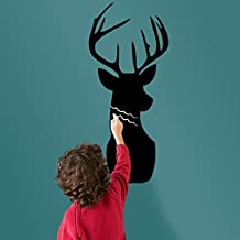 Deer Head Black Writing Board Blackboard Wall Decal Home Sticker PVC Murals Vinyl Paper House Decoration WallPaper Living Room Bedroom Kitchen Art Picture DIY for Children Teen Senior Adult Nursery Baby