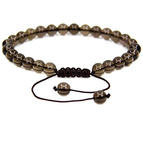 Smoky Quartz Bracelet Quartz - Natural A Grade Smoky Quartz Gemstone 6mm Round Beads Adjustable Bracelet 7