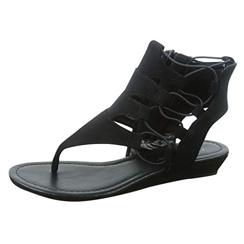 (✔ Hypothesis_X ☎ Womens' Open Toe Buckle Sandal Hollow Casual Shoes Ankle Zip Heel Low Wedges Sandals Black)