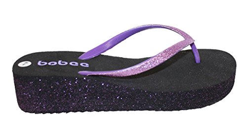 Glitter With and Purple Womens Wedge Flip Comfortable Straps Flop Footbed PatAInS