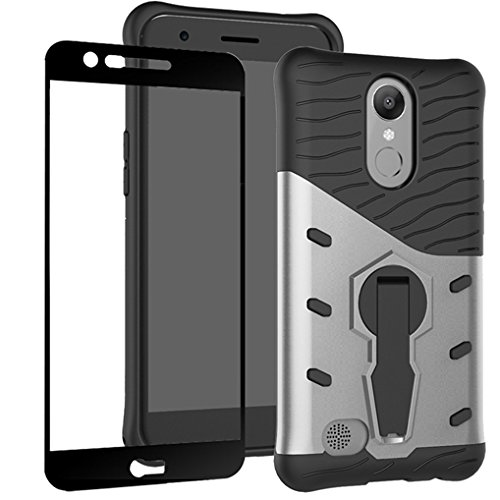 LG K20 V Case,LG K20 Plus / LG K10 2017 / LG VS501 / LG Grace / LG Harmony Case , BestAlice Hybrid Rugged Defender 360 Rotatiing Stand Armor Shockproof Case Cover Tempered Glass Film , Silver
