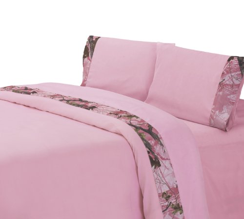 HiEnd Accents Oak Camo Sheet Set, King, Pink - Euro Fitted Sheet