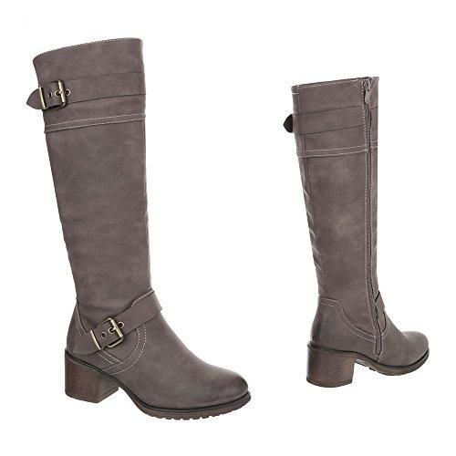 Ital-Design Klassische Stiefel Damenschuhe Klassische Stiefel Blockabsatz Schnallen DEKO Reißverschluss Stiefel Hellbraun