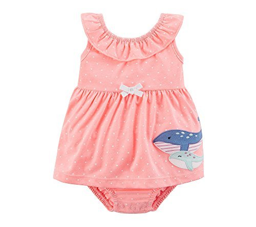 Girls Whale (Carter's Baby Girls' 1 Piece Sunsuit 3 Months, Coral Whale Dots)