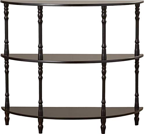 Wood Console Table with 2 Shelves - Half Moon Console Table - Cherry