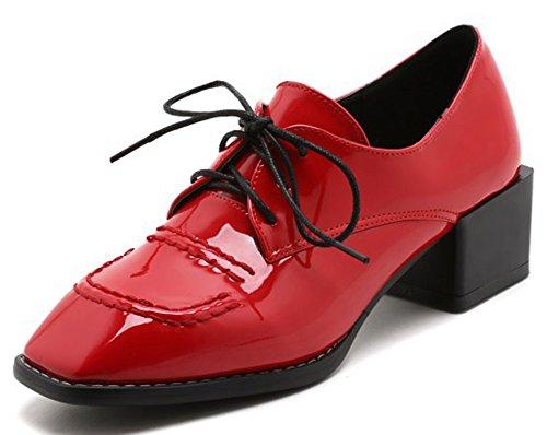 Idifu Damesschoenen Klassieke Vierkante Neus Midden Dikke Hak Veters Oxfords Rode Schoenen