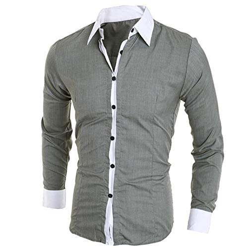 Big Sales, Anewoneson 2019Men's Long Sleeve Official Polka Dot Slim Shirt Gray