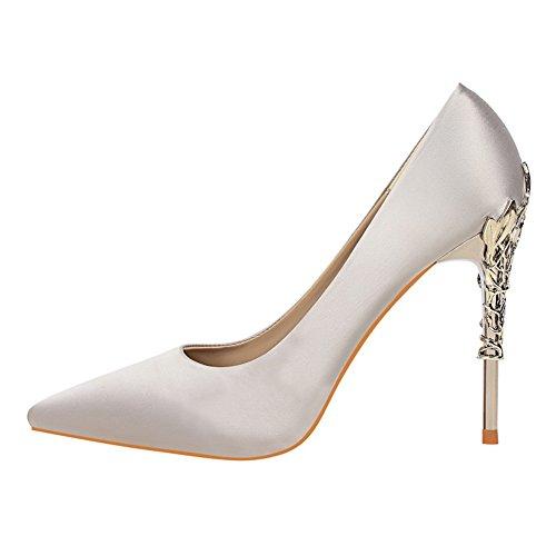 fereshte Women's Sexy Pointed-Toe Silk and Satin Metal Heel Slip-On High Heels Stilettos Dress Pump Silver Gray kb0url
