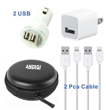Amazon.com: andigi 4-en-1 de doble cargador de coche USB + 2 ...