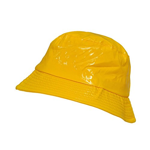 TOUTACOO Waterproof Wax Style Bucket Rain Hat 02-Yellow (Bucket Style Rain Hat)