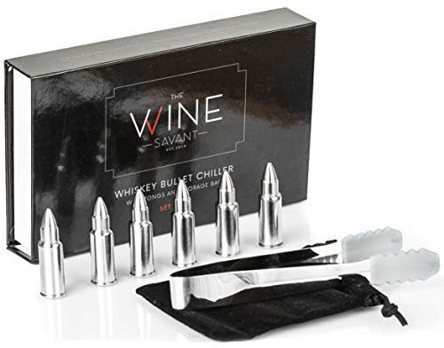 Whiskey Stones Bullets Stainless Steel - Bullet Chillers Set of 6, The Wine Savant Stainless Steel Whiskey Rocks Bullet Shaped Ice Cubes, Beautiful Gift Box, Tongs and Storage Bag