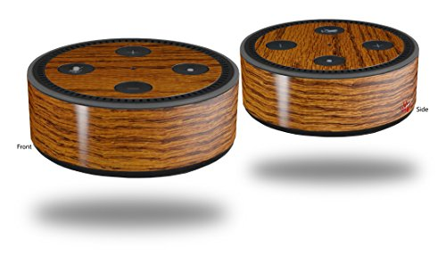 Skin Wrap Decal Set 2 Pack for Amazon Echo Dot 2 - Wood Grain - Oak 01 (2nd Generation ONLY - Echo NOT INCLUDED)