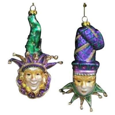Kurt Adler Noble Gems Glass Mardi Gras Mask Ornament Set