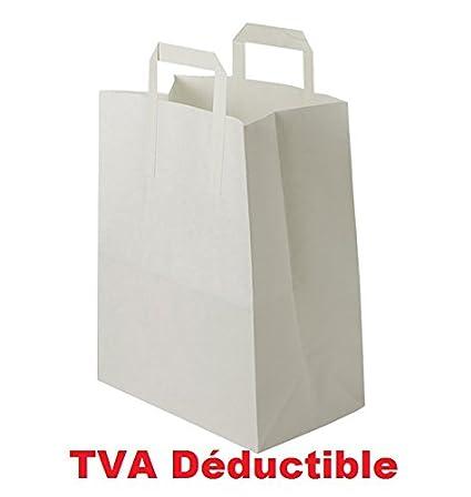 100 bolsas blancas de papel kraft asas planas 6 litros de 22 ...