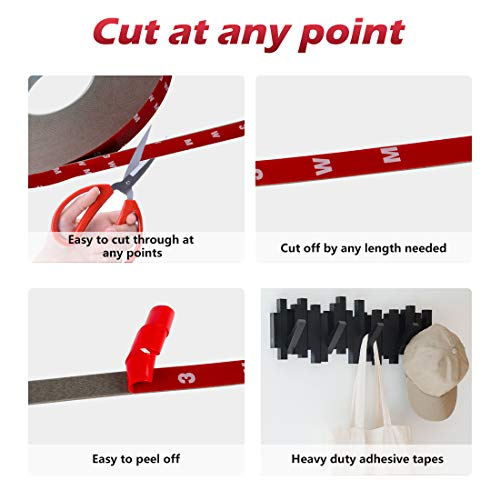 Double Sided Tape,3m Mounting Adhesive Tape Heavy Duty, Waterproof Foam Tape, LED Strip Lights, Home Decor, Office Decor (0.59In x 108 Ft, Black)