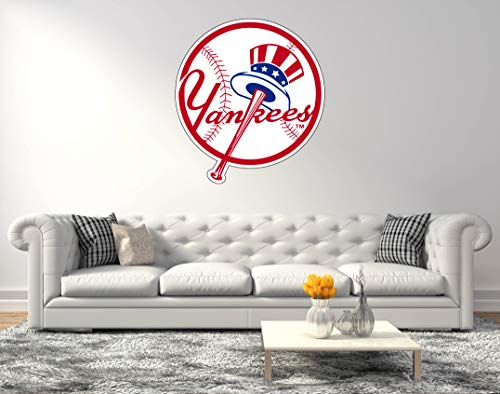 Team Logo Wall Decal - American Baseball Team Yankees Logo - Wall Decal for Home Bedroom Hall Decoration (Wide 20