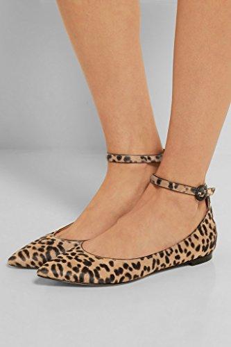 EDEFS Damen Ballerinas,Knöchelriemchen Flach,Spitz Zehe Slipper,Partei Büro Flache Schuhe Leopard