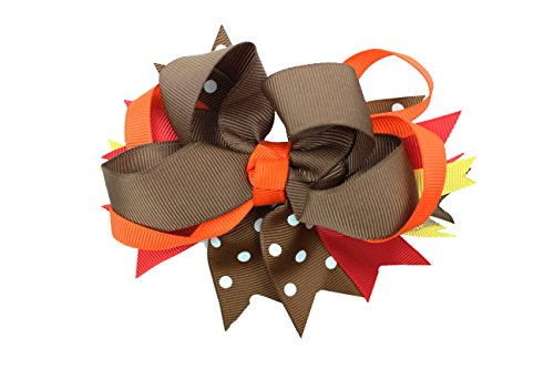 juDanzy Holiday Hair Clips & Bows in Valentines, Thanksgiving & Christmas themes for baby, toddler & Girls (Large Thanksgiving Bow)