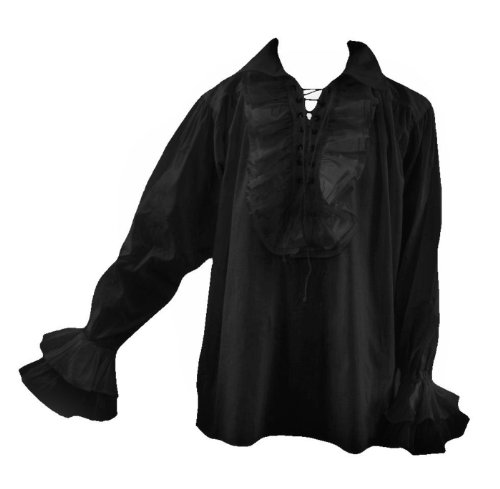 Goth Men 80S Eighties New Romantic Frilly Pirate Shirt Black L Longsleeve (Burlesque Clothing Men)
