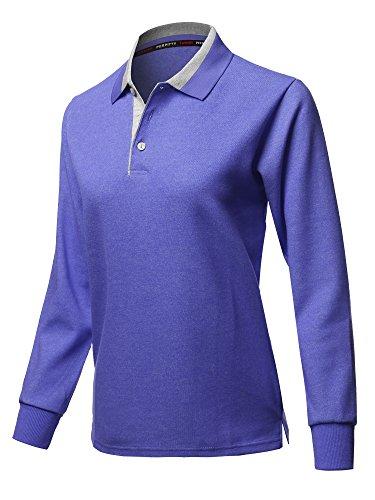Xpril Casual 100% Cotton Long Sleeves 2-Tone Collar Polo Top Blue Size XL ()