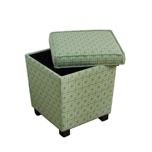 HomePop Elegant Trapezoid Storage Ottoman, Spinach Geometric Fabric