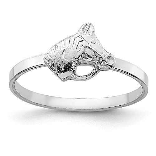 Children's Sterling Silver RH Plated Child's Polished Horse Ring Size 3 ()