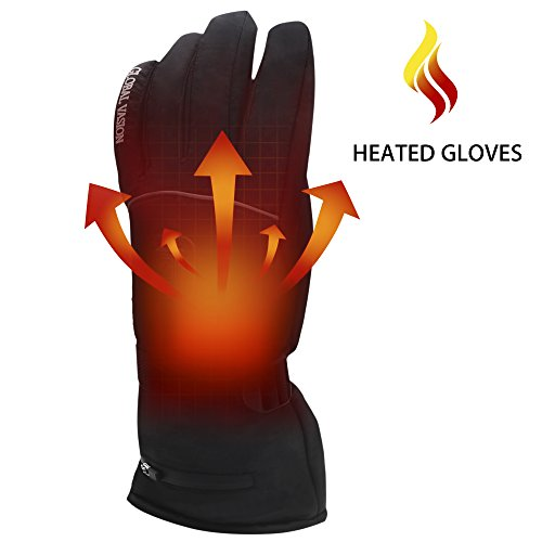 Greensha Rechargeable Electric Battery Heated Gloves for Men&Women,Outdoor Indoor battery powered Hand Warmer,Novelty Thermal Gloves for Hiking Skiing Cycling&Hunting (Black, L) (Battery Heated Mittens)