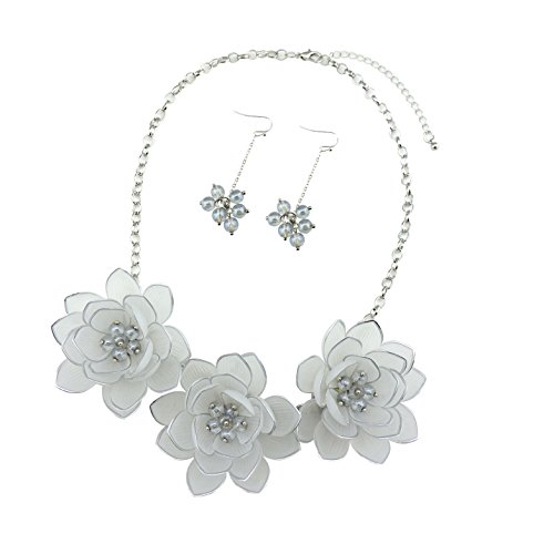 White Flower Necklace (BOCAR Bib Statement Pendant Dark Blue Flower Jewelry Set Necklace and Earrings for Women Gift (NK-10372-white))