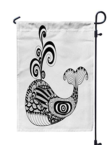 Jacrane Welcome Small Garden Flag 12X18 Inches Whale Coloring Page Tattoo Shirt Effect logopattern t Double-Sided Seasonal House Yard Flags Decorative]()