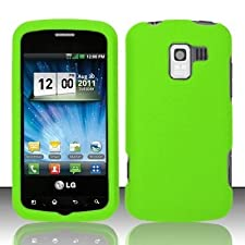 LG Neon Green Rubberized Hard Faceplate Cover Phone Case for LG Optimus Q L55c
