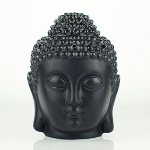Moylor Buddha Head Statue Oil Burner Translucent Ceramic Aromatherapy Diffusers and Home Decor (White & Black)